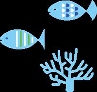 お魚と珊瑚のイラスト
