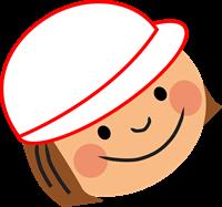 女の子のイラスト(紅白帽)