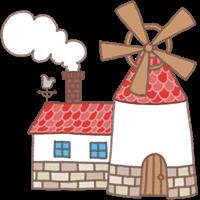 風車と煙突のある家のイラスト①