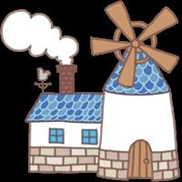 風車と煙突のある家のイラスト②