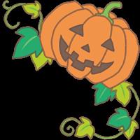 ハロウィンのカボチャと葉っぱのイラスト