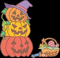 ハロウィンのカボチャ(3個)とお菓子のイラスト