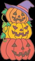 ハロウィンのカボチャ(3個)と葉っぱのイラスト