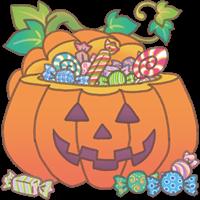 ハロウィンのカボチャの中にお菓子が入っているイラスト