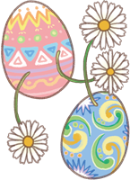 イースターエッグとお花のイラスト