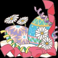 イースターエッグと花とリボンのイラスト