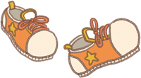 遠足やお散歩のイメージのオレンジ色の靴のイラスト