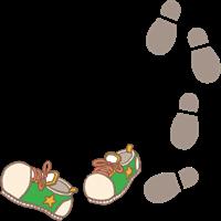 遠足やお散歩のイメージの緑色の靴と足跡のイラスト