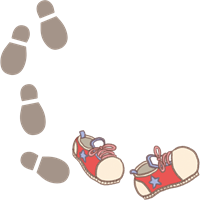 遠足やお散歩のイメージの赤色の靴と足跡のイラスト