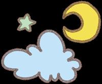 雲と月と星のイラスト