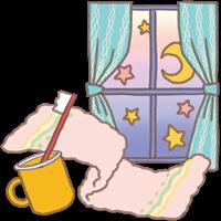 お泊まり保育のイメージのタオルと歯ブラシと窓越しの夜空のイラスト