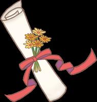 卒園証書とお花のイラスト