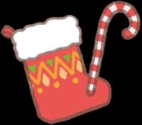 クリスマスの靴下とスティックのイラスト