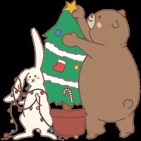 くまとうさぎのイラスト(クリスマス)