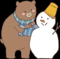 くまとうさぎのイラスト(雪だるま)