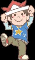 男の子のイラスト(折り紙の兜)