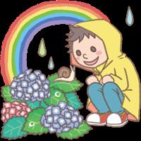 男の子のイラスト(雨カッパと紫陽花)