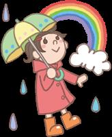 女の子のイラスト(傘と雨カッパ)