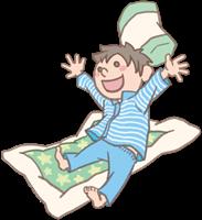 男の子のイラスト(お泊まり保育・布団)