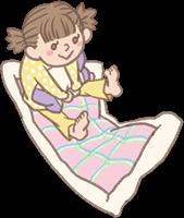 女の子のイラスト(お泊まり保育・布団)