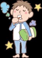 男の子のイラスト(お泊まり保育・歯磨き)