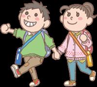 男の子と女の子のイラスト(遠足)