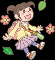 女の子のイラスト(遠足)