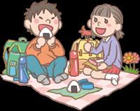 男の子と女の子のイラスト(遠足・お弁当)