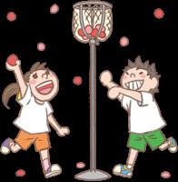 男の子と女の子のイラスト(玉入れ)