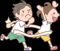 男の子と女の子のイラスト(運動会④)