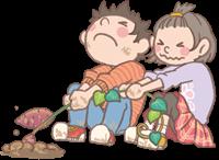 男の子と女の子のイラスト(いも掘り)