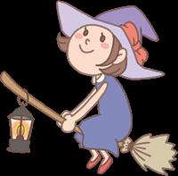 箒に乗った魔女の変装をした女の子のイラスト(ハロウィン)