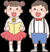 男の子と女の子のイラスト(発表会)