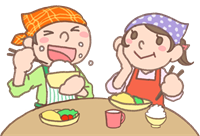 男の子と女の子のイラスト(お料理)