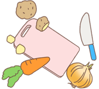 まな板の包丁と野菜のイラスト